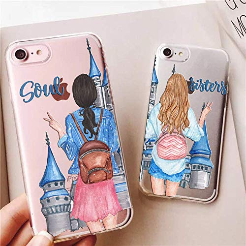 iPhone 6 Case,iPhone 6S Case,Soul Sisters Castle Couples Match BFF Best Friends Clear Soft Shock Absorption Anti Scratch Drop Protective Case Cover for iPhone 6/6S (Renewed)