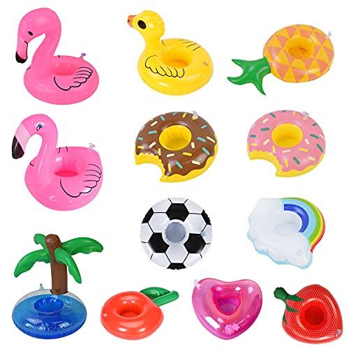 GLAITC Portavasos Inflable,12 Unids Soporte Inflable para Bebidas Bebida Inflable Piscina Flotador Portavasos Flamingo Piscina Portavasos Flotante Verano Playa Bebida Ensalada Barra de Frutas