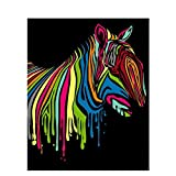 DAHUAJIA - Cuadro enmarcado para pintar por números, diseño de cebra abstracta, pintura y semáforo, caligrafía de animales