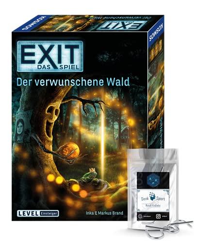 Exit Das Spiel - Juego de mesa (3 piezas, diseño de bosque y 1 adorno de metal)