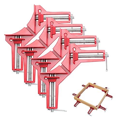 Fippy Morsetto ad angolo retto a 90 gradi 4 pezzi Morsetti per lavorazione del legno Set morsetto in legno regolabile per cornice per foto, morsetto ad angolo per utensili manuali fai da te