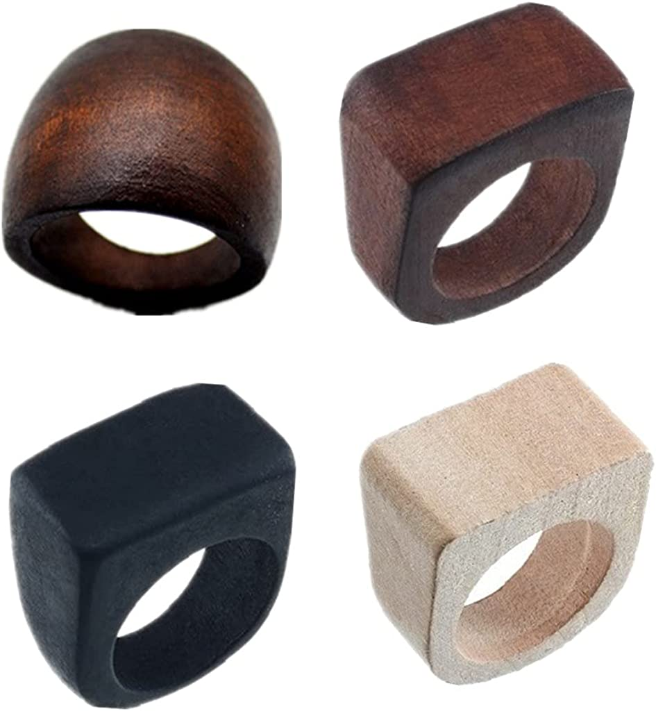Natural Wood Rings Handmade Retro Geometric Round Statement Rings Vintage Bohemia Wooden African Ethnic Ring Jewelry for Women Girl