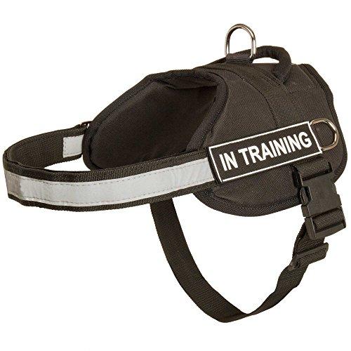Harnais pour chien en nylon avec bande réfléchissante Sangle pour formation, marche, Service de Police, SAR et plus – Taille XXS avec fixation Velcro \
