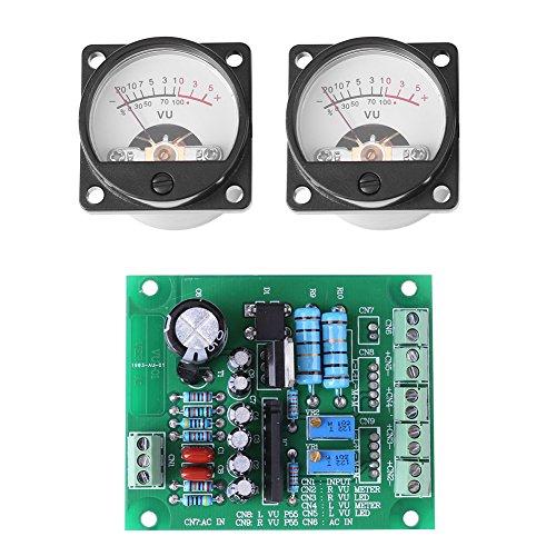 Akozon VU Meter 2 Pcs VU Panel Meter Warm Back Light Recording + Audio Level Amp with Driver Board