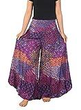 Lannaclothesdesign Palazzo Pants for Women Wide Leg Boho Harem Yoga Pants 37 Inches Length (S, Purple Colorful Peacock)