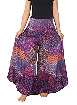 Lannaclothesdesign Palazzo Pants for Women Wide Leg Boho Harem Yoga Pants S M L XL Sizes  XL Purple Colorful Peacock