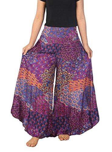 Lannaclothesdesign Palazzo Pants for Women Wide Leg Boho Harem Yoga Pants 37 Inches Length (XL, Purple Colorful Peacock)