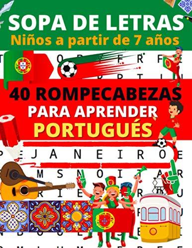 Sopa de letras : Niños a partir de 7 años: Libro de 40 rompecabezas para aprender portugués (sopa de letras portugués | 1 tema por pagina)