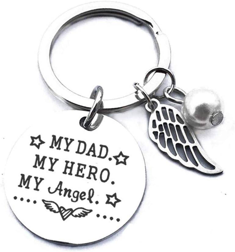 LoveAloe Car Key Silver My Dad My Hero My Angle Charm Alloy Decoration Decor Bag Pendant Creative Keyring Keychain