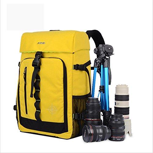ZXJ Multi-Fonction Imperméable Nylon Anti-décalage SLR/DSLR Gadget Caméra Sac à Dos Professionnel Équipement La Photographie Voyage Backpack Rucksack, Yellow