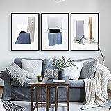 Arte de pared de color abstracto nórdico impresiones de pintura en lienzo carteles para sala de estar decoración del hogar contratada moderna 50x70cmx3 sin marco