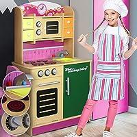 Cocina Infantil de Madera - con Microondas, Fregadero y Horno, Superficie del Trabajo 48 cm, para Niños - Cocina de Juguete, Juego de Imitación, Cocinita