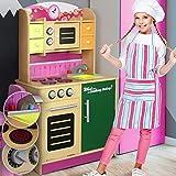 Kinderküche - mit Herd, Mikrowelle, Spüle, Wasserhahn, Schaltknöpfe mit echtem Klickgeräusch, Arbeitshöhe 48 cm, 4 Schubladen - Kinderspielküche, Spielküche, Spielzeugküche, Spielzeug Küche mit Tafel