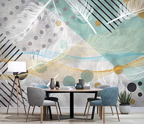 Pink world Wandbild Einfache abstrakte geometrische Feder TV Hintergrund Tapete-Über 300 * 210 cm