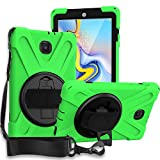 Galaxy Tab A 8.0 T387 (2018/2019, LTE) Case, KIQ Shockproof Heavy Duty Holder Shield Full-Body Protection Cover Stand Shoulder Strap Sling Case for Samsung Galaxy Tab A 8.0' SM-T387 (Green)