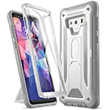 YOUMAKER Kickstand Case for Galaxy Note 9, Full Body with Built-in Screen Protector Heavy Duty Protection Shockproof Rugged Cover for Samsung Galaxy Note 9 6.4 Inch - White/Gray