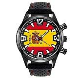 Timest - Bandera de España - Reloj para Hombre con Correa de Silicona Negro Analógico Cuarzo SF205