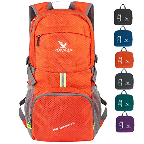 POKARLA 35L Foldable Rucksacks Durable Lightweight Backpack Water Resistant Travel Hiking Daypack Packable Carry On Bag Unisex Outdoor Sports Orange