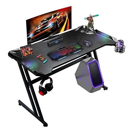 Escritorio para Juegos RGB Mesa de Juegos Grande para estación de Trabajo de 120 cm para computadora portátil de Juegos, Gaming PC Escritorio de computadora Pro Recubierto de Carbono con portavasos