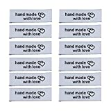 EvaGO 50 Pcs Handmade with Love Woven Sewing Labels Handmade Sewing Labels with Interlocking Hearts Embroidered Label Tags for Clothing Garment Sewing Decoration, White Color