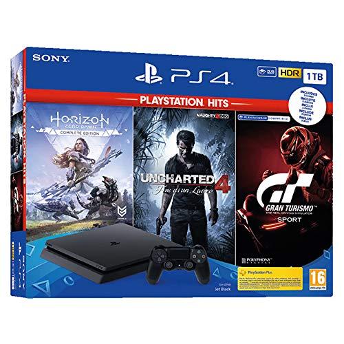 Sony PS4 1TB + Horizon Zero Dawn + Uncharted 4 + GT Sportt HITS Nero 1000 GB Wi-Fi