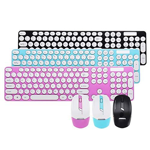 Teclado inalámbrico silencioso Ultrafino + Kit de Combo de ratón de 1600 PPP, 2.4GHz para computadora portátil de Escritorio 101 Teclas Hudson Studio (Color : Pink)