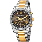 Father's Day Gift! - Akribos Multi-Function Swarovski Crystal Accented Steel Bracelet Watch - Three Hand Movement with Two Time Zones and Date Complication - Men's Ultimate Swiss Watch - - Gold Silver