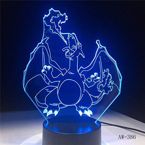 3D Illusion Lamp Led Night Light Novità Cartoon Pokemon Charizard Usb Multicolor Lampadina Luminaria Capretto Giocattolo Regalo Di Natale