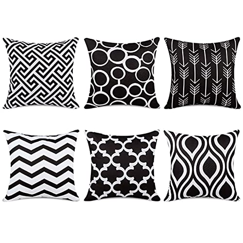 Top Finel Housses de coussin décoratives 100 % coton, Toile, noir, 18\