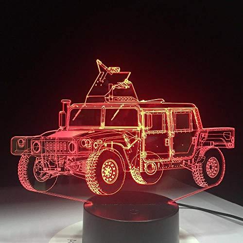 Lámpara de ilusión 3D Lámpara de mesa USB con forma de camión militar para dormitorio de niños Decoración de fiesta en casa para dormir-16 colors remote