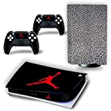 PS5 Console and Controller Skin Vinyl Sticker Decal Cover for PlayStation 5 Console and Controllers, Disk Edition -Jordan Black Cement