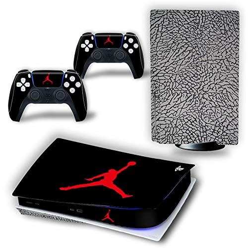 PS5 Console and Controller Skin Vinyl Sticker Decal Cover for PlayStation 5 Console and Controllers, Durable, Bubble-Free, Scratch and Dust Resistant, Disk Edition -Jordan Black Cement