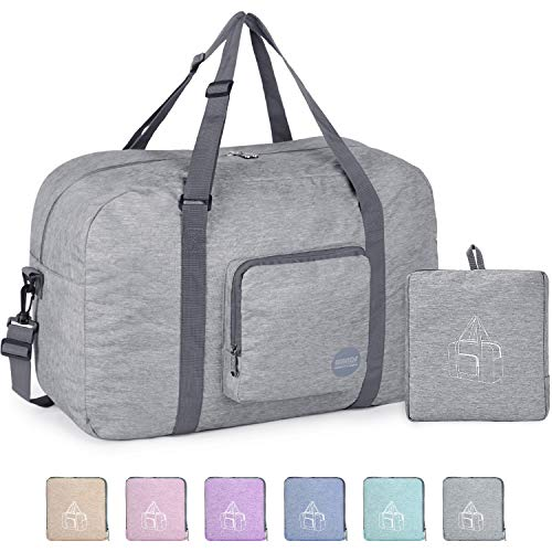 22' Foldable Duffle Bag 50L for Travel Gym Sports Packable Lightweight Luggage Duffel Water-resistant By WANDF (Light Grey 22', 22 inches (50 Liter))