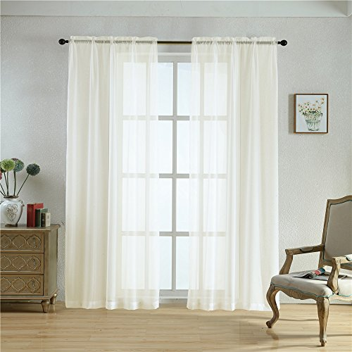BEGOODTEX Sheer Curtain Transparent Voile Window Treatment Draperies Rod Pocket Panel- 52Wx95L Inch- Ivory- 2 Panels