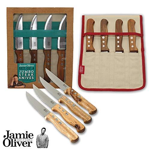 Jamie Oliver - Set di 4 coltelli da bistecca in sacchetto di tela, in legno di acacia