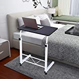 Adjustable Mobile Computer Laptop Desk - Adjustable Sofa Lazy End Table with Wheels TV Stand Side Table Snack Tray for Bedside Couch Eating Writing Reading Living Room Bedroom Home Office (Black)