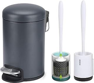 Skroad Poubelle Ronde avec Ensemble de brosses de Toilette en Silicone à Montage Mural, Mini poubelles 3L avec couvercles ...