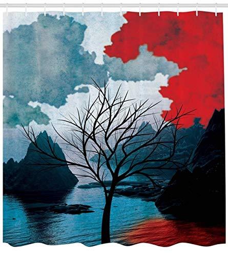 ZLWSSA 3D Wasserdicht Duschvorhang Winter Baum Mystic Landschaften Aquarell Design Berge Kunstdrucke Felsen Kreatives Denken Home Habitat Decor 180x240cm