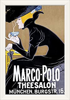 CANVAS ON DEMAND Marco Polo, Thee Salon, Munchen, Vintage Poster White Framed Art Print, 19