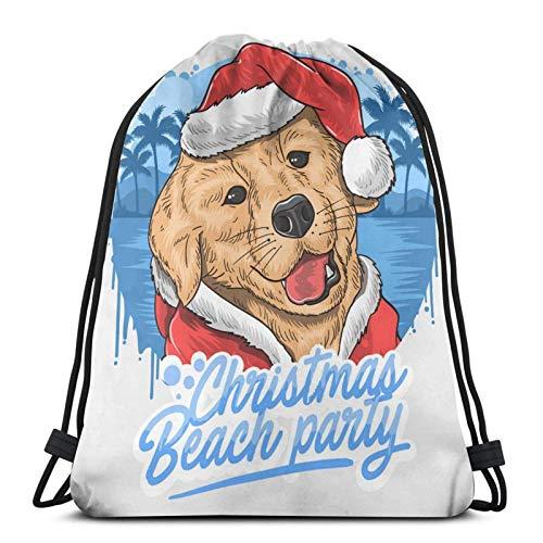 Lsjuee Navidad Perro Papá Noel Animal ArtworkMochila Deportes Fitness Mochila Impermeable Hombres y Mujeres Riñonera Viaje Yoga Playa Escuela