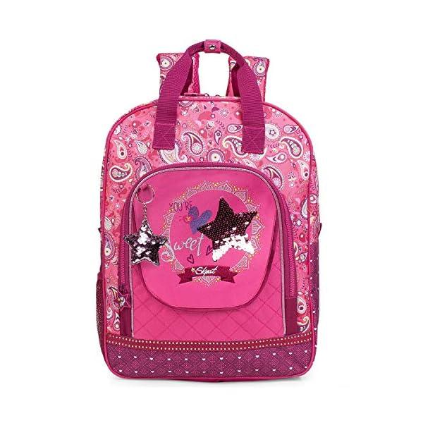 SKPAT – Mochila Escolar Infantil de niña. Acolchada y Estampada Cachemir con Lentejuelas. Impermeable y Ligera. para…
