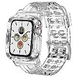 Senka Correa con funda Compatible con Apple Watch 38mm 40mm 42mm 44mm, Fundas con Correa Deportes de Silicona Suave Transparente para iWatch Series SE 6 5 4 3 2(42mm/44mm, Transparente)