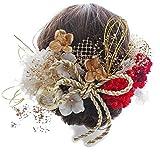 【髪飾り専門店LALALA】髪飾り 成人式 卒業式 和装 結婚式 袴 ドライフラワー プリザーブドフラワー 高級造花 630 (ホワイト/レッド)
