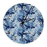 Orologio da parete silenzioso da 10 pollici senza ticchettio Camouflage blu Bello stile militare fresco Orologio da parete rotondo in legno a batteria Orologio da parete con numeri romani Decorazioni