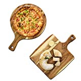 KAILUN Bandeja De Pizza Pino Redondo Pizza Piedra Tabla De Cortar Bandeja Redonda De Madera con Asa Adecuado para Todo Tipo De Aperitivos, Aperitivos, Pizzas, Pan Y Otros Utensilios De Cocina