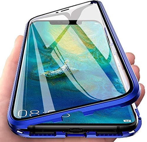 Gypsophilaa Suitable for Xiaomi Redmi Note 8 Pro Mobile Phone Case, Magnetic adsorption Box Metal Frame Tempered Glass Back Cover with Built-in Magnet Cover [Support Wireless Charging] de Golpes