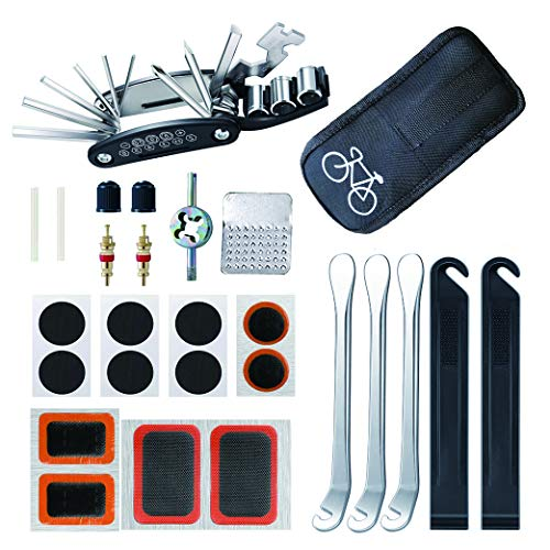 Yeelan Fahrrad Reparatur Werkzeug Set,16 in 1 Flickzeug Fahrrad,27pcs Multitool Tragbares Reparaturset,mit Schraubenschlüssel, Luftdüse, Reifenpatch,Fahrrad Kettennieter Zange