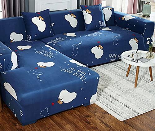 SLOUD Funda de sofá en Forma de L, Funda de sofá seccional, Funda Protectora de poliéster para Muebles, con 2 Fundas de Almohada-B-En Forma de l 2+3 plazas