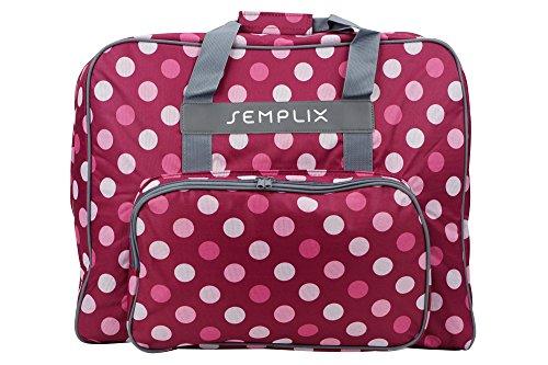 SEMPLIX XL-Nähmaschinentasche, Polka Dots Beere/Rosa, 52x42x27 cm, Große stabile Transport und Aufbewahrungs Tasche für große Nähmaschinenmodelle