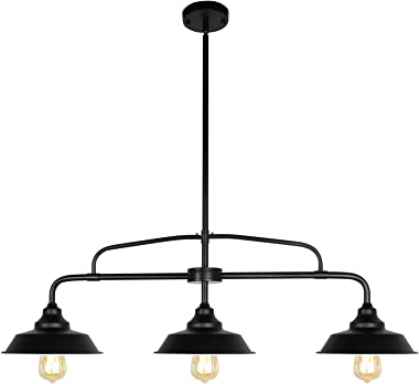 PUZHI HOME Black Pendant Lighting Fixture, 3-Lights Modern Farmhouse Chandelier with Metal Shades Island Lights for Kitchen f